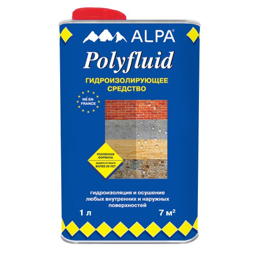 Полифлюид Альпа / Alpa Polyfluid жидкость для гидроизоляции 1л