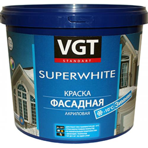 """Краска ВД-АК-1180 фасадная база """"А"""" (автоколерование) супербелая, 13кг ВГТ"""