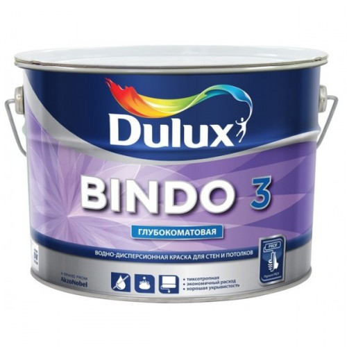 Краска BINDO 3 для стен и потолков глубокоматовая база BW (5л) Дьюлукс