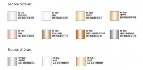 "Краска аэрозольная металлик серебро 520мл ""KUDO"" KU-1026"